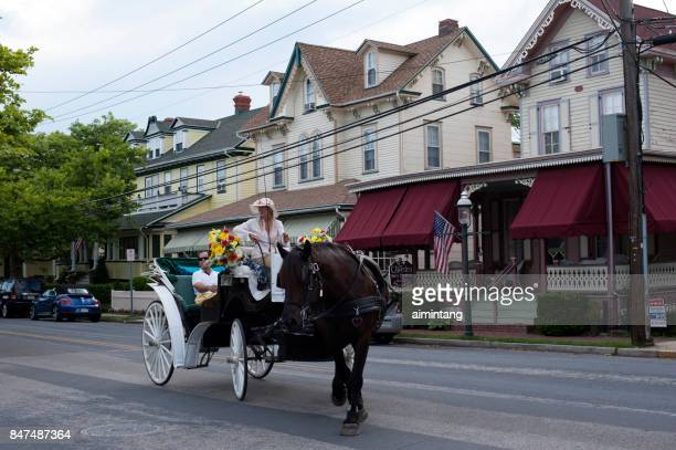 horse-drawn carriage ride in cape may - cape may stock pictures, royalty-free photos & images