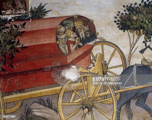 Horsedrawn chariot detail from the 15th century frescoes of Castello della Manta Saluzzo Cuneo Italy