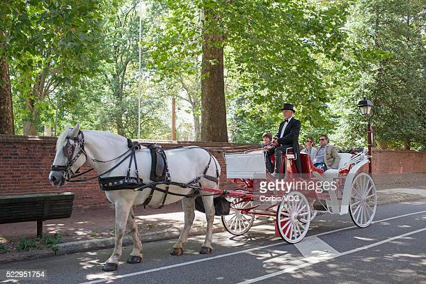 horse-drawn chart riding along city street, philadelphia, pennsylvania, usa - animal powered vehicle stock photos and pictures