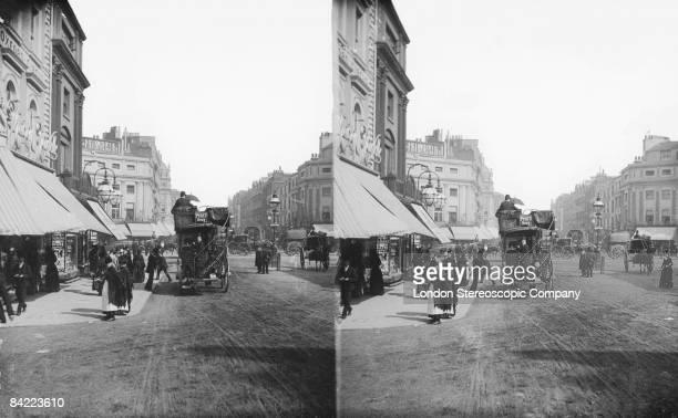 A horsedrawn omnibus at Oxford Circus in London circa 1900