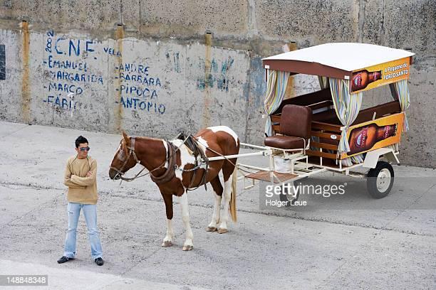 Horse-drawn taxi carriage awaiting passengers at Porto Santo Line ferry terminal.