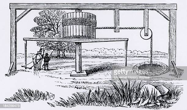 A horsegin also called horsewhin horsewhim or whimsey A type of capstan powered by a horse and used for raising ore water etc from a mine Engraving...