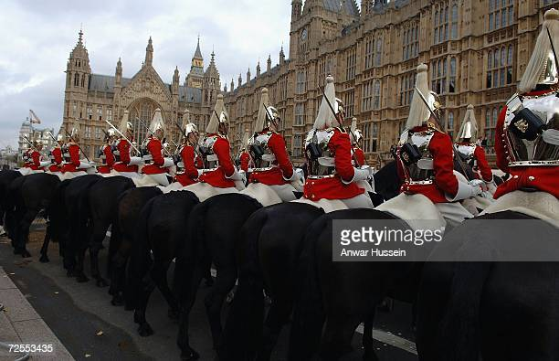 Horseguards await the arrival of Queen Elizabeth ll at the House of Lords for the State Opening of Parliament on November 15, 2006 in London, England.