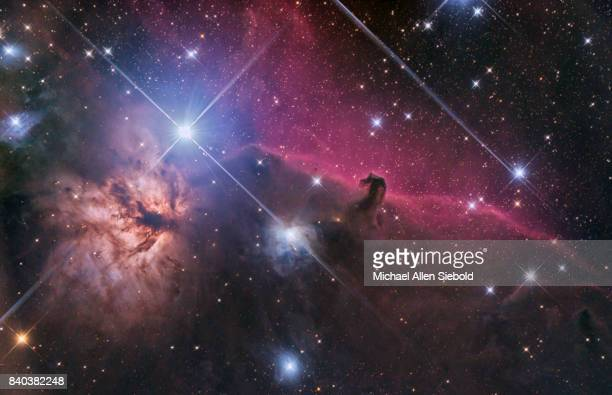 horsehead and flame nebulae - nebula stock pictures, royalty-free photos & images