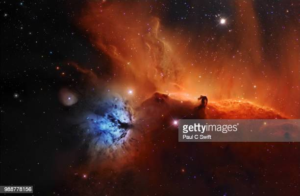 horsehead nebula, ic 434 narrowband - nebula stock pictures, royalty-free photos & images
