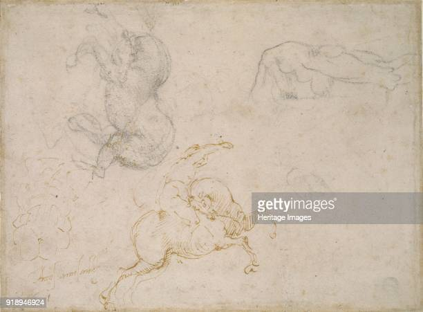 A Horseman charging and other Studies 16th century Dimensions height x width sheet 19 x 258 cm