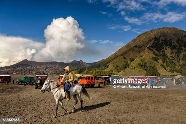 horseman facing mount promo, java, indonesia - bromo crater stock pictures, royalty-free photos & images