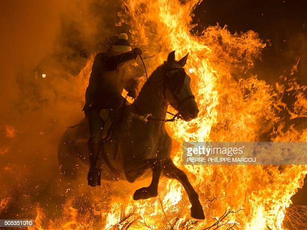 A horseman jumps over a bonfire in the Spanish central village of San Bartolome de Pinares in the province of Avila Castile and Leon during the...