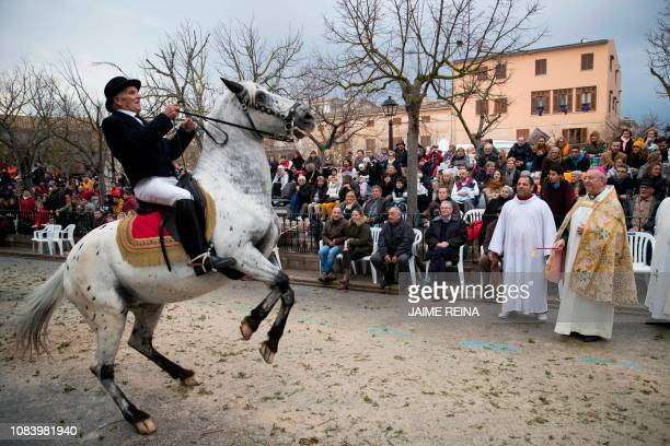 A horseman reins his horse in before receiving a priest's benediction during the 'Beneides' traditional ceremony of blessing animals that marks the...