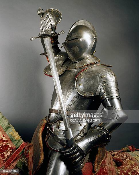 Horseman's armour in steel decorated with engravings made in England 15651570 Italy 16th century Florence Museo Stibbert