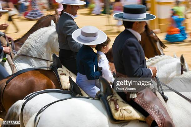 horsemen at jerez horse fair - jerez de la frontera stock pictures, royalty-free photos & images