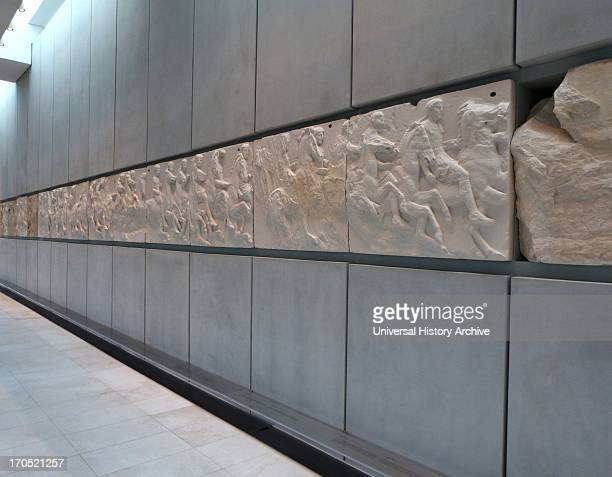 Horsemen depicted in part of the Parthenon friezes at the Parthenon/Acropolis museum Athens