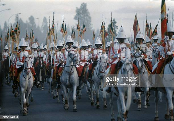 Horsemen of the Imperial Guard or Kebur Zabagna in Ethiopia circa 1965