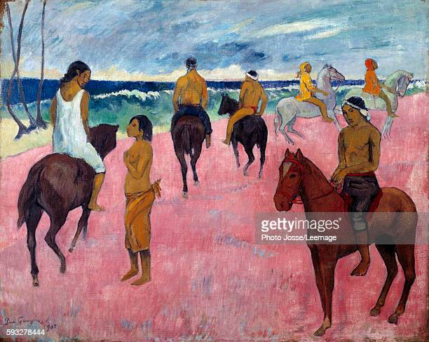 Horsemen on the Beach Painting by Paul Gauguin 1902 oil on canvas Private Collection