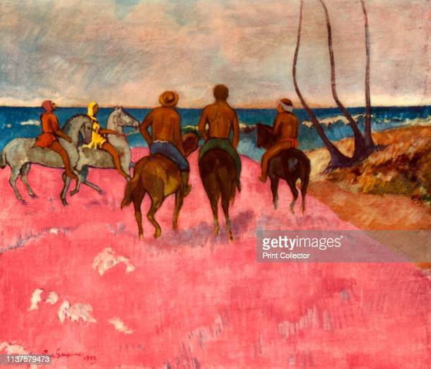Horsemen on the Shore' Scene in French Polynesia 'Cavaliers sur la plage ' painting in the Museum Folkwang Essen Germany From The Impressionists by...