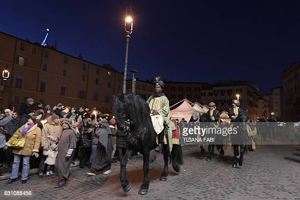 Horsemen perform the arrival of the Three Kings to celebrate the Epiphany at Piazza Navona on January 6 2017 in Rome In the Christian religion Three...