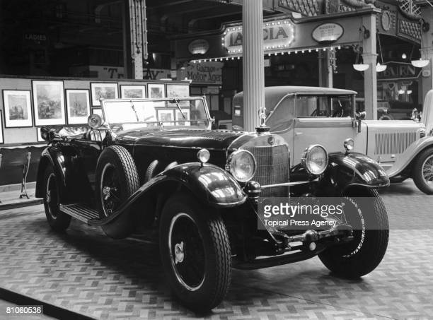 A 38 horsepower Mercedes Benz open tourer at the Olympia Motor Show in London 14th October 1931 It is priced at 2350 pounds sterling