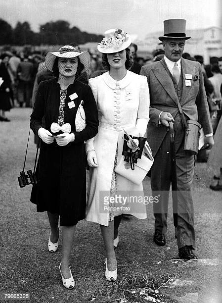 HorseRacing 13th June 1939 Ascot England Contrasting fashions worn by Lady Mary Fitzroy and Miss McNeill on the first day of the Ascot meeting