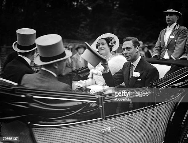 HorseRacing 15th June 1938 Ascot England King George VI and Queen Elizabeth ride in their carriage on Royal Hunt Day at Ascot races