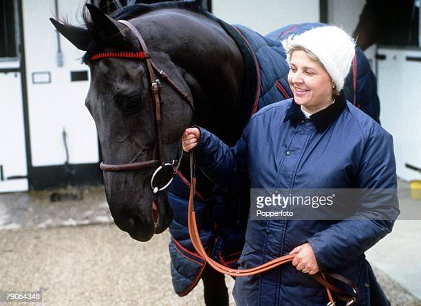 HorseRacing Cheltenham Gold Cup winner Burrough Hill Lad with trainer Jenny Pitman