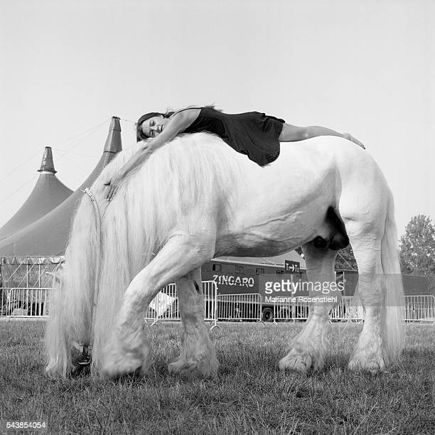 Horserider and performer Eva Schakmundes a member of the Zingaro Equestrian Theatre group