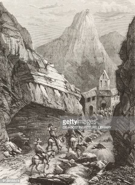 Horseriding mountaineers crossing the Madonna d'Appari gorge in Camarda Italy illustration from the magazine L'Illustrazione Universale year 2 no 47...