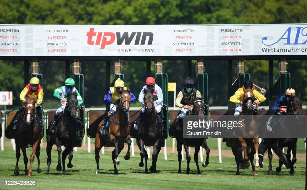 Horses and jockeys at the start of a race on May 07 2020 in Hanover Germany The performance test is the first horse race since the Coronavirus forced...