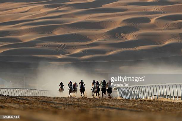 Horses and jockeys in action during the Liwa Sports Festival at Moreeb Dune on January 3 2017 in Abu Dhabi United Arab Emirates