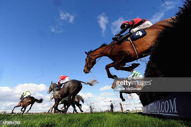 Horses and jockeys jump the ditch during the Stanjamescom Handicap Steeple chase at Huntingdon racecourse on February 20 2014 in Huntingdon England
