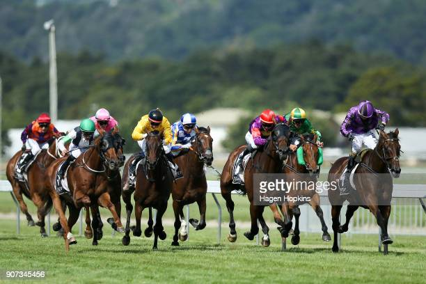 Horses and jockeys race in the Wallaceville Estate Castletown Wellington Cup during Wellington Cup Day at Wellington Racing Club on January 20 2018...