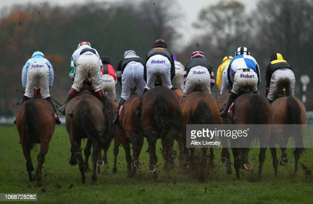 Horses and riders compete in The Watch Racing Uk On Bt Tv Handicap Hurdle Race at Haydock Racecourse on December 5 2018 in Haydock England
