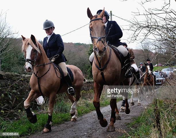 Horses and riders from the Cleveland Hunt ride out on the traditional New Year's Day hunt on January 1, 2016 in Guisborough, United Kingdom....