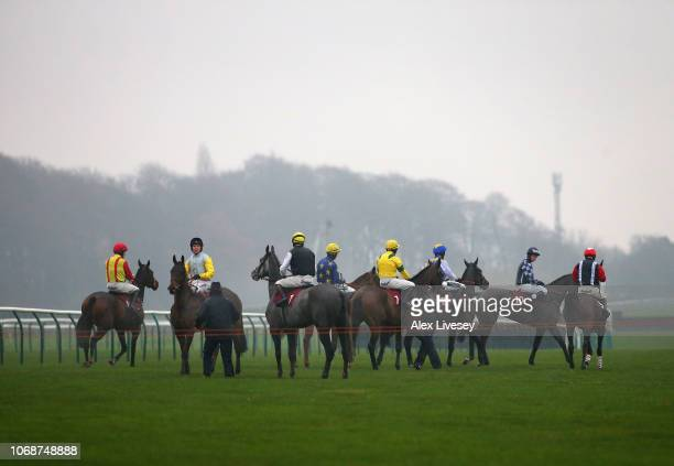 Horses and riders wait for the start of The Watch Racing Uk Anywhere Maiden Hurdle Race at Haydock Racecourse on December 5 2018 in Haydock England