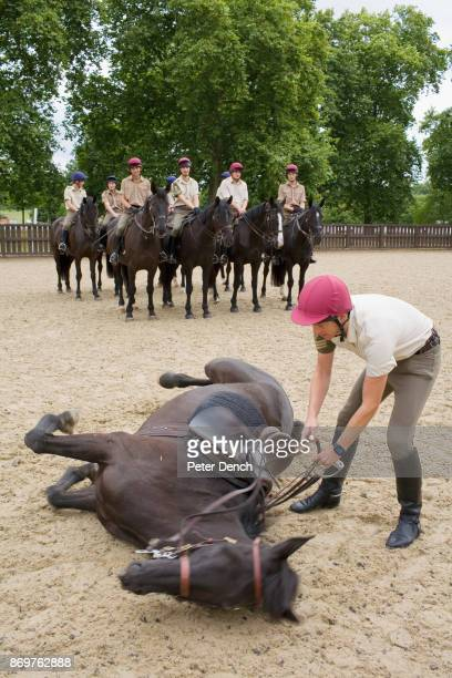 Horses and their riders go through a drill at a sand arena in Hyde Park adjacent to the Household Cavalry's Knightsbridge barracks The Household...