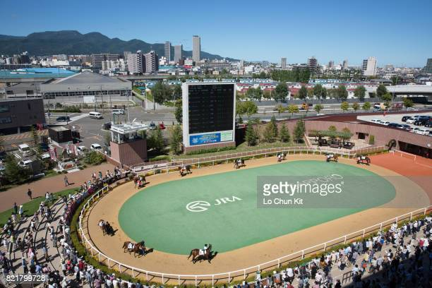 Horses are paraded around the paddock prior to a race during the 2016 World AllStar Jockeys Day 1 at the Sapporo Racecourse on August 27 2016 in...
