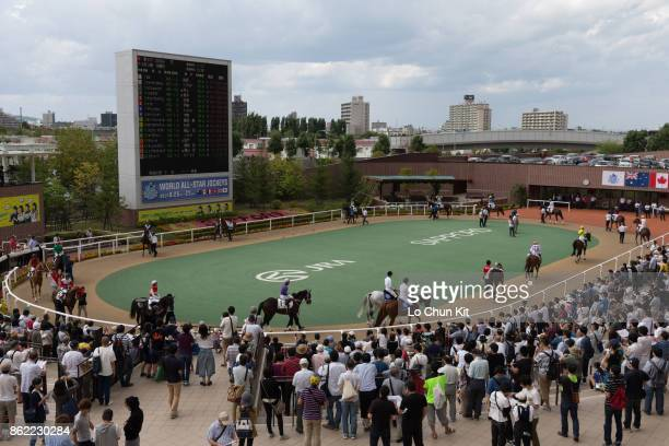 Horses are paraded around the paddock prior to a race during the 2017 World AllStar Jockeys Day 1 at the Sapporo Racecourse on August 26 2017 in...