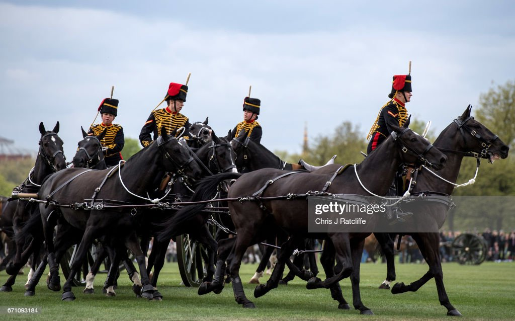 Horses are riden away after a 41 Royal gun salute to mark the 91st birthday of Her Majesty The Queen in Hyde Park on April 21, 2017 in London, England. The King's Troop Royal Horse Artillery rode out from their forward mounting base in Wellington Barracks with 71 horses pulling six First World War-era 13 pounder Field Guns.