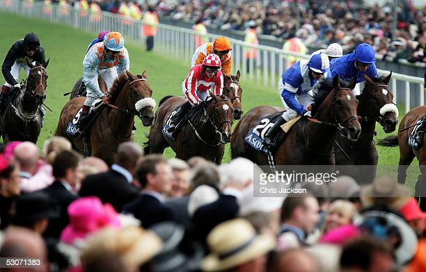 Horses are seen coming up to the finishing line on the second day of Royal Ascot 2005 at York Racecourse on June 15, 2005 in York, England. One of...
