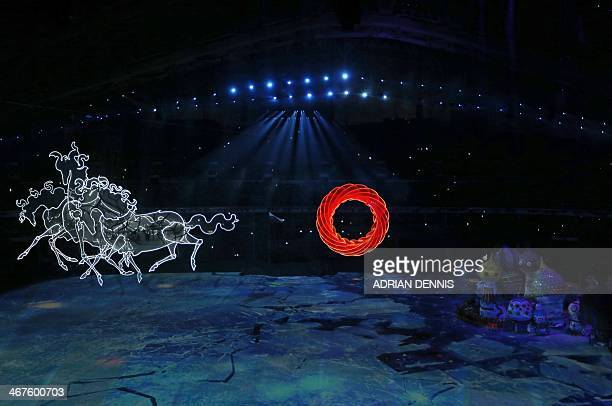 Horses are seen floating through the sky during the Opening Ceremony of the Sochi Winter Olympics at the Fisht Olympic Stadium on February 7 2014 in...