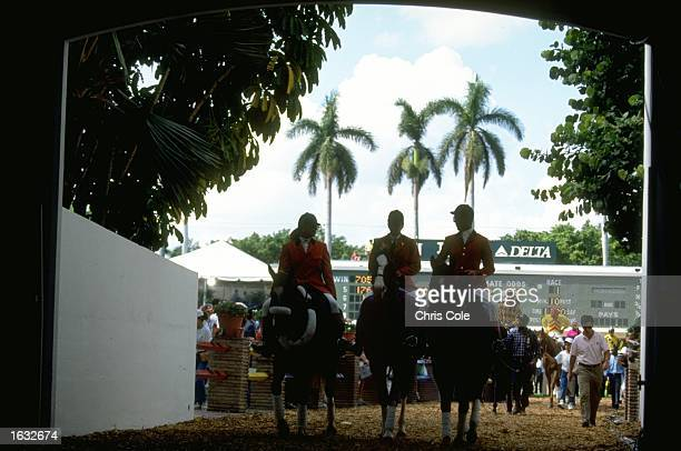 Horses being led out to start the racing at the Breeders Cup at Gulfstream Park Mandatory Credit Chris Cole/Allsport