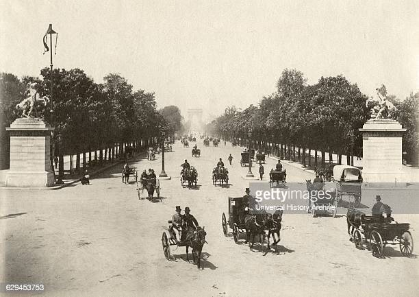 Horses Buggies on Avenue des ChampsElysées Paris France Albumen Print circa 1890