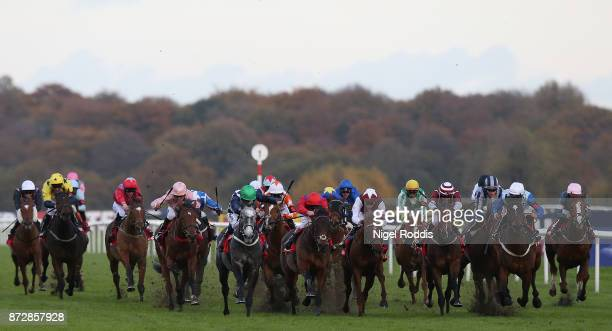 Horses compete during The Betfred November Handicap Stakes at Doncaster Racecourse on November 11, 2017 in Doncaster, England.