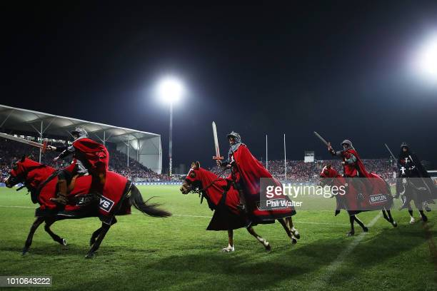 Horses gallop round the ground prior to the Super Rugby Final match between the Crusaders and the Lions at AMI Stadium on August 4 2018 in...