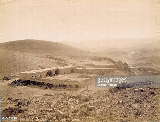 Horses graze in and around the caravanserai which is known in biblical tradition as the Inn of the Good Samaritan On the Jericho road near Jerusalem...