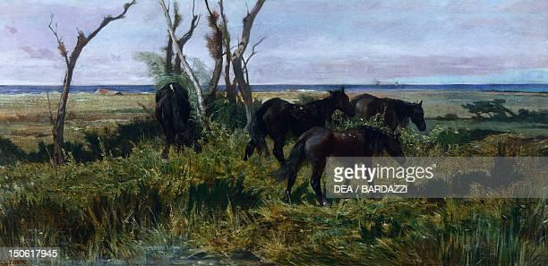 Horses grazing by Giovanni Fattori