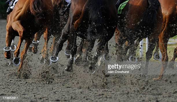 Horses hooves at Kempton Park racecourse on July 16 2013 in Sunbury England