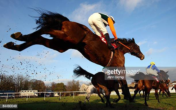 Horses jump a fence during the Ladbrokes Odds On Card - Double Points Days Handicap Chase on January 27, 2009 at Folkestone Race in Folkestone,...
