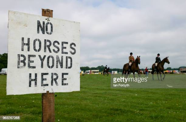 Horses leave the ring after competing during the Duncombe Park Country Fair on May 28 2018 in Helmsley England Set in the grounds of one of...