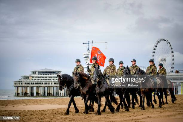 Horses of the Cavalry Honorary Escort practice with noise music and smoke a day before Prinsjesdag on September 18 2017 in The Hague Netherlands The...