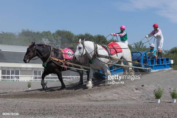 Horses performing Banei Horse Racing at Baji Koen JRA's Equestrian Park on September 23 2015 in Setagaya Tokyo Japan In the summer of 2020 the...